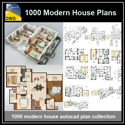 1000 Modern House Autocad Plan Collection – Free Autocad Blocks & Drawings Download Center