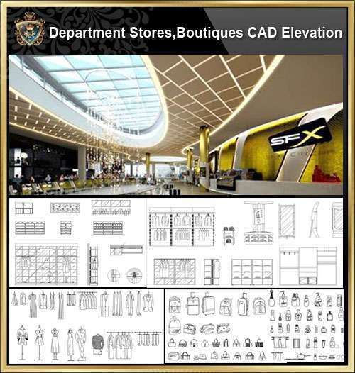 ★【Shopping Centers,Store CAD Design Elevation,Details Elevation Bundle】V.3@Shopping centers, department stores, boutiques, clothing stores, women's wear, men's wear, store design-Autocad Blocks,Drawings,CAD Details,Elevation