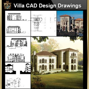 ★【Villa CAD Design,Details Project V.2-Spanish Marbella Style】Chateau,Manor,Mansion,Villa@Autocad Blocks,Drawings,CAD Details,Elevation
