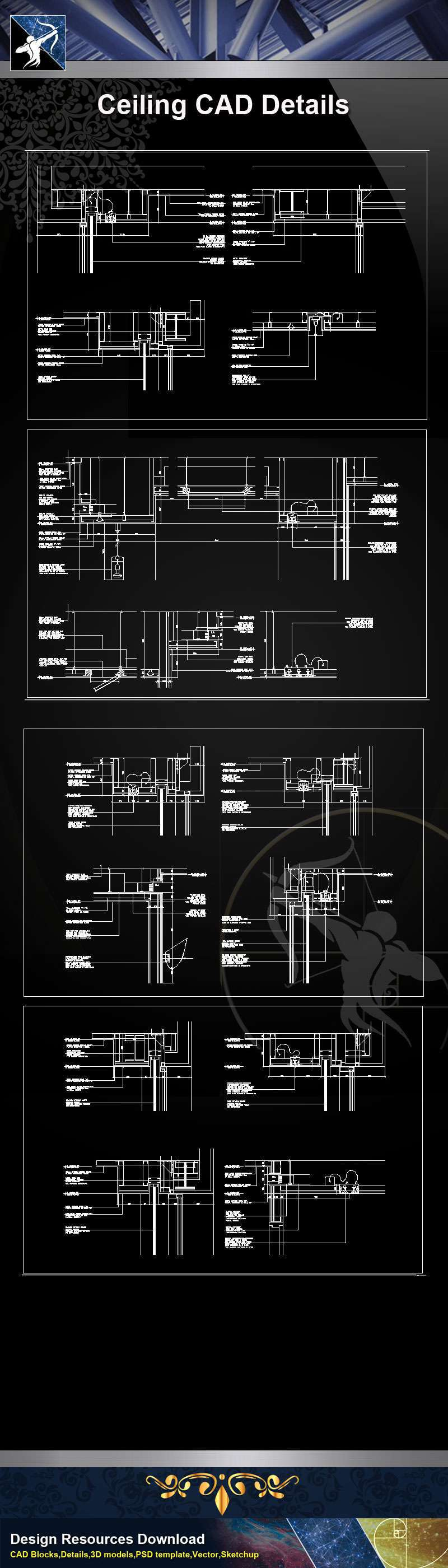 【Architecture CAD Details Collections】Ceiling Design CAD Details V.2