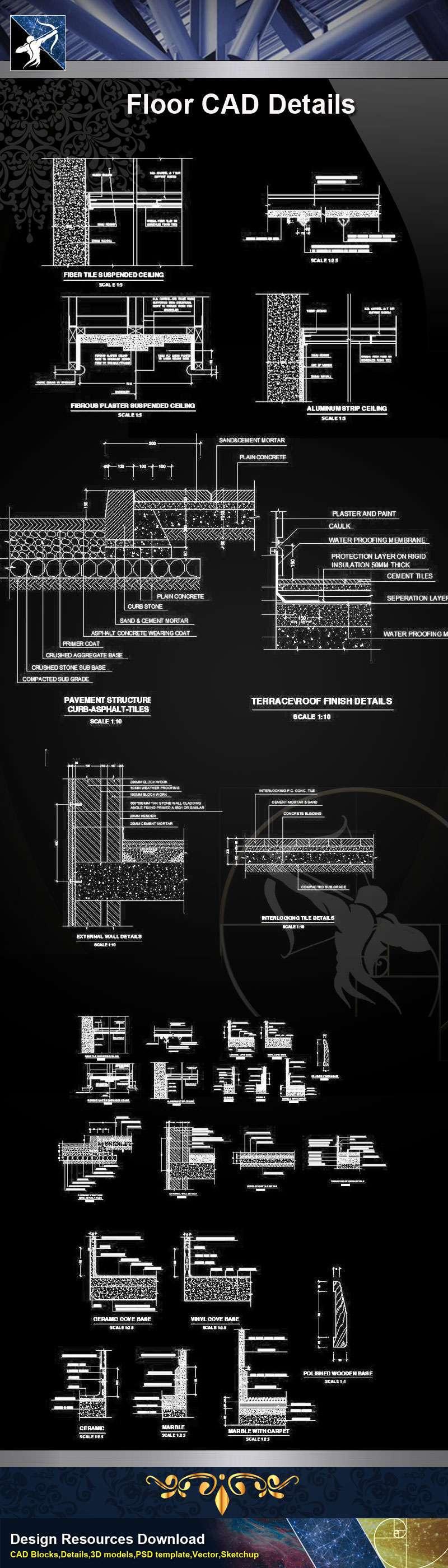 【Architecture CAD Details Collections】Flooring CAD Details V.1