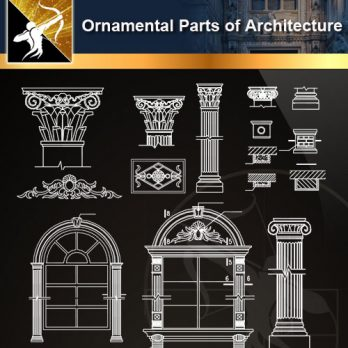 ★【Ornamental Parts of Architecture -Decoration Element CAD Blocks V.8】@Autocad Decoration Blocks,Drawings,CAD Details,Elevation