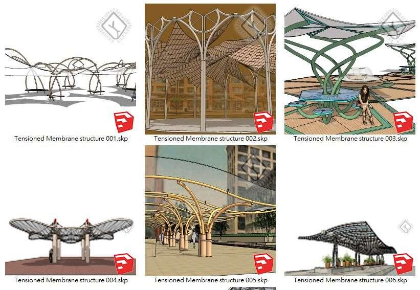 【Sketchup 3D Models】19 Types of Tensioned Membrane Structure Sketchup Models V.1