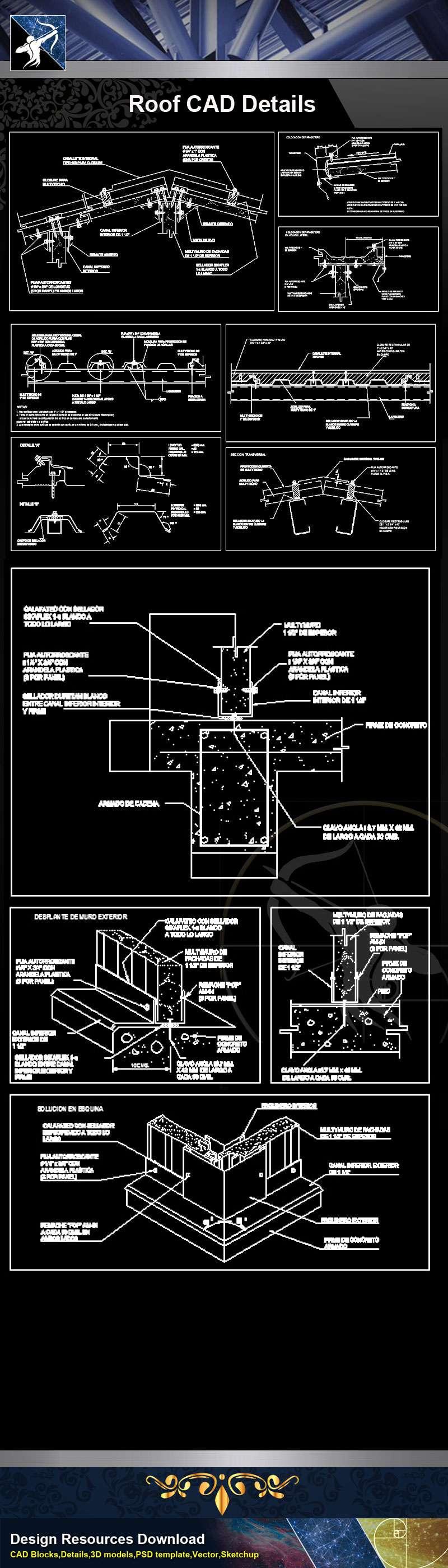 【Architecture CAD Details Collections】Roof CAD Details V.1