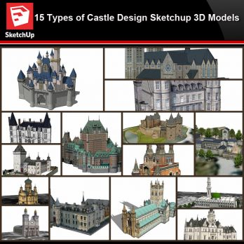 💎【Sketchup Architecture 3D Projects】15 Types of Castle Design Sketchup 3D Models V2