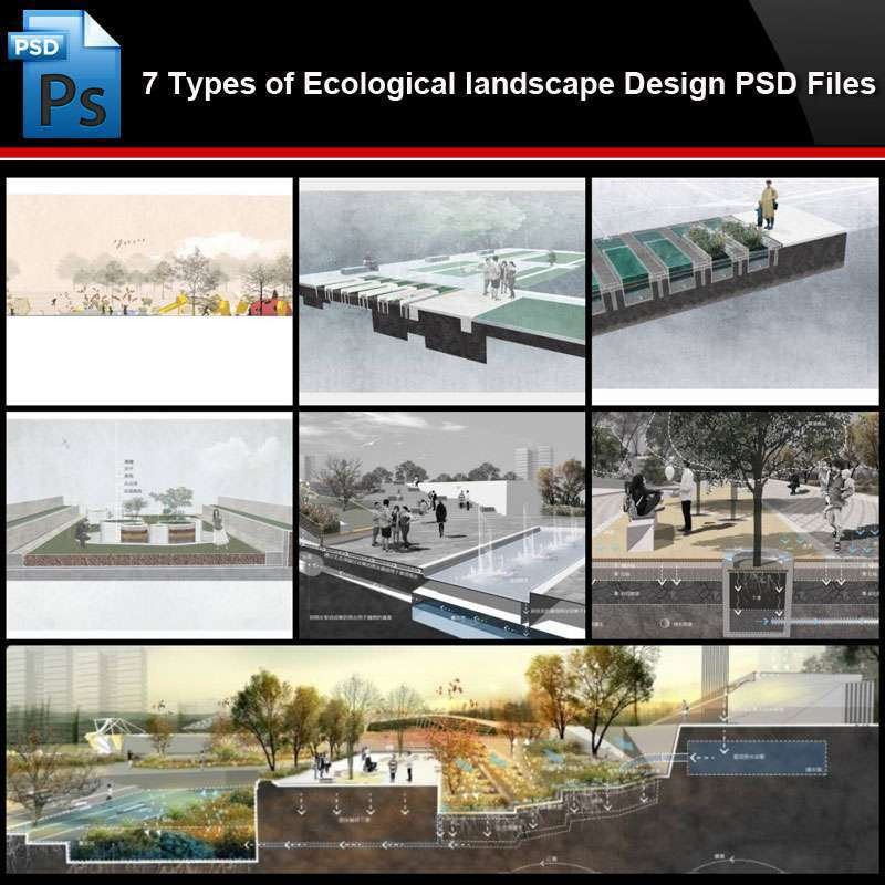 Photoshop Psd Files 7 Types Of Ecological Landscape Design Psd Files Total 1 77gb Free Autocad Blocks Drawings Download Center